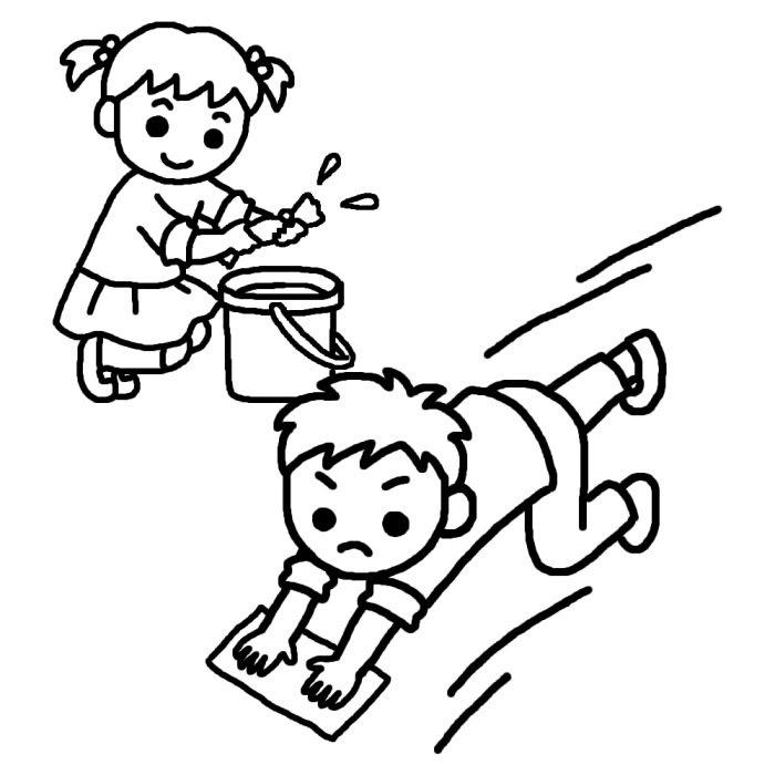 雑巾がけ白黒大掃除の無料イラスト冬の季節行事学校素材