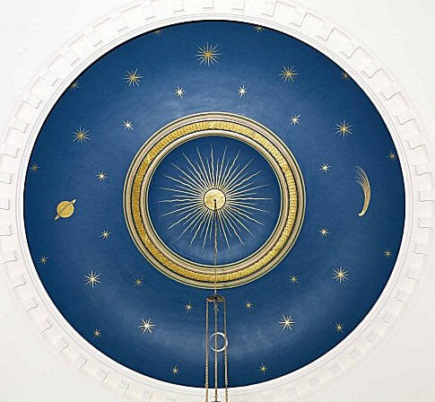 On the ceiling of St. Andrews church on Waterloo Street in East Sussex, there is a painting showing the sun surrounded by stars, a comet, a crescent moon and Saturn.