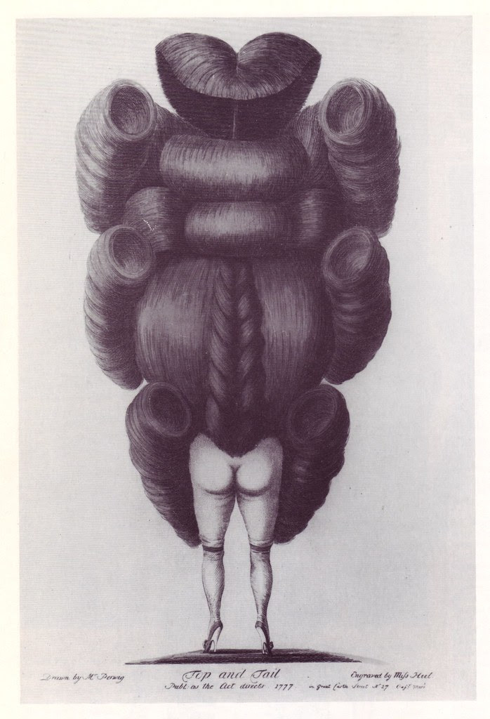 absurd engraving poking fun at hairstyles in 18th century