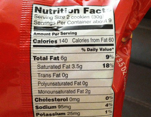Chips Ahoy Nutrition Label - Labels