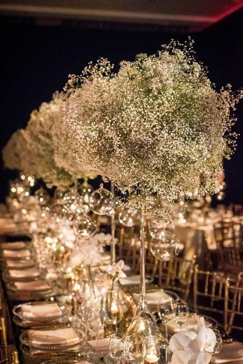 Unique Green, White and Gold Wedding Reception Centerpiece