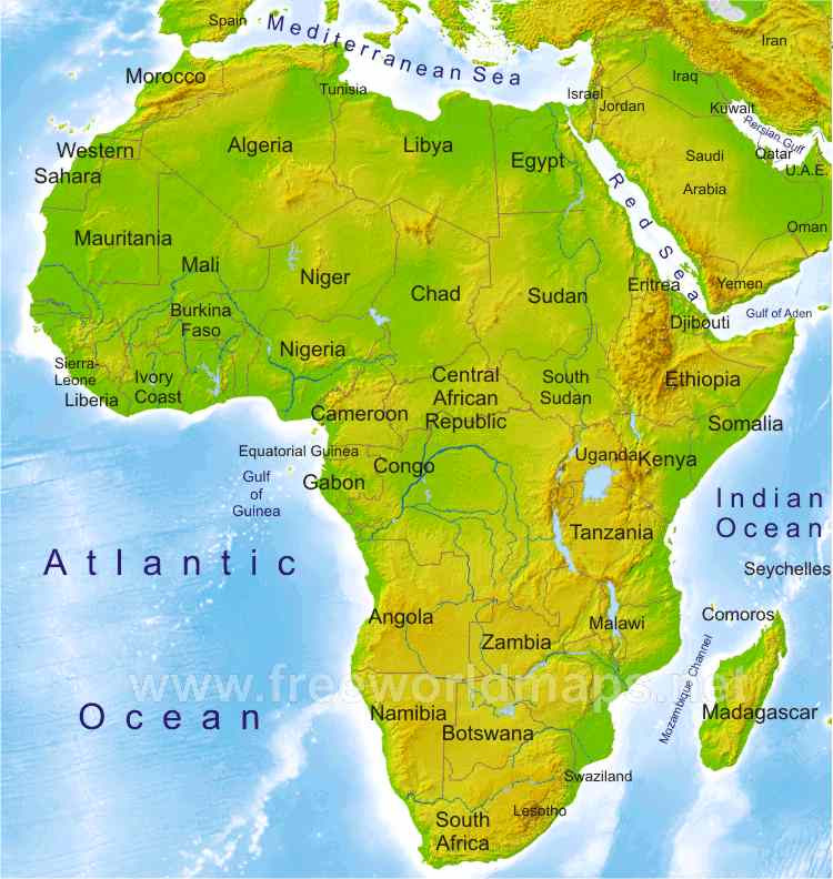 Physical Map Of Africa | Map Of Africa