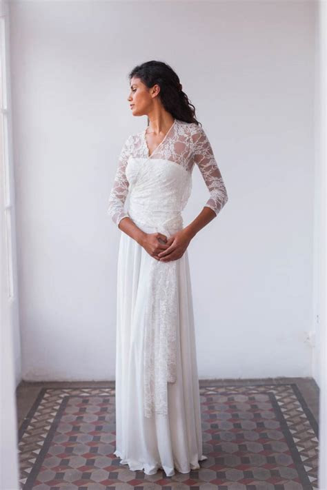 Lace Wedding Dress Boho, Bohemian Wedding Dress, Lace