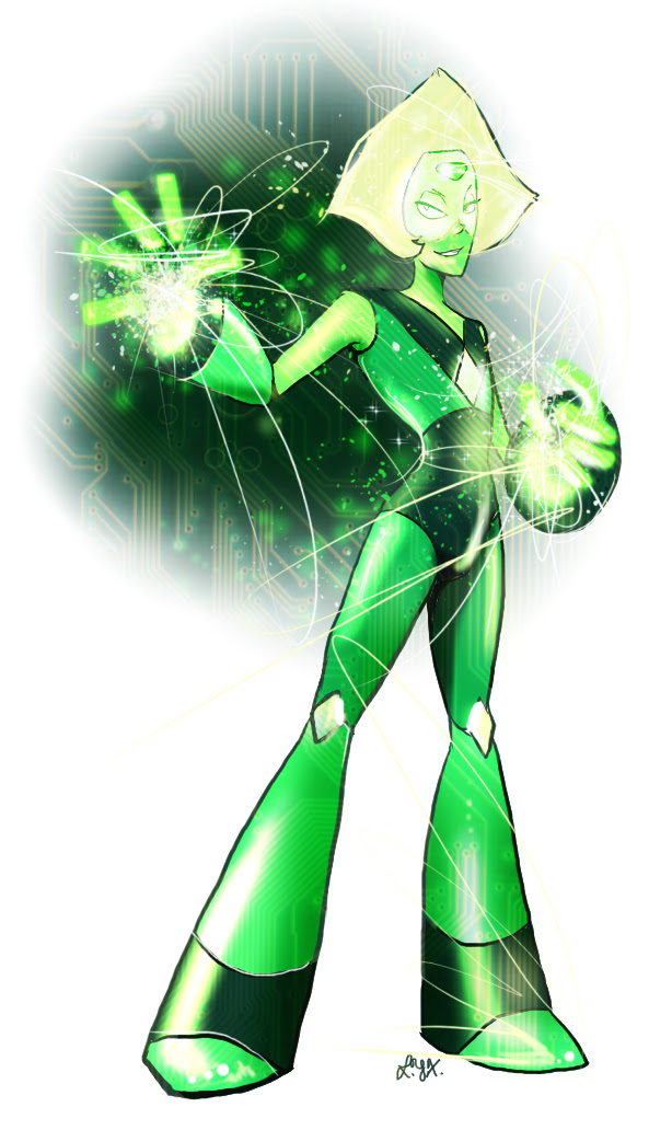 I am ridiculously fond of Steven Universe's Peridot.  Here she is on Tumblr.  Do not repost her, please just reblog.
