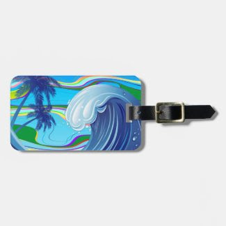 Sea Ocean big Wave Water luggage tag