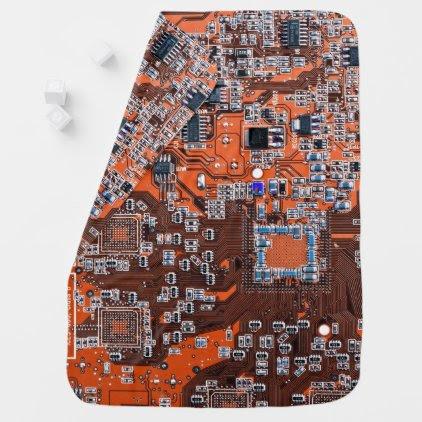 Computer Geek Circuit Board - orange Baby Blanket