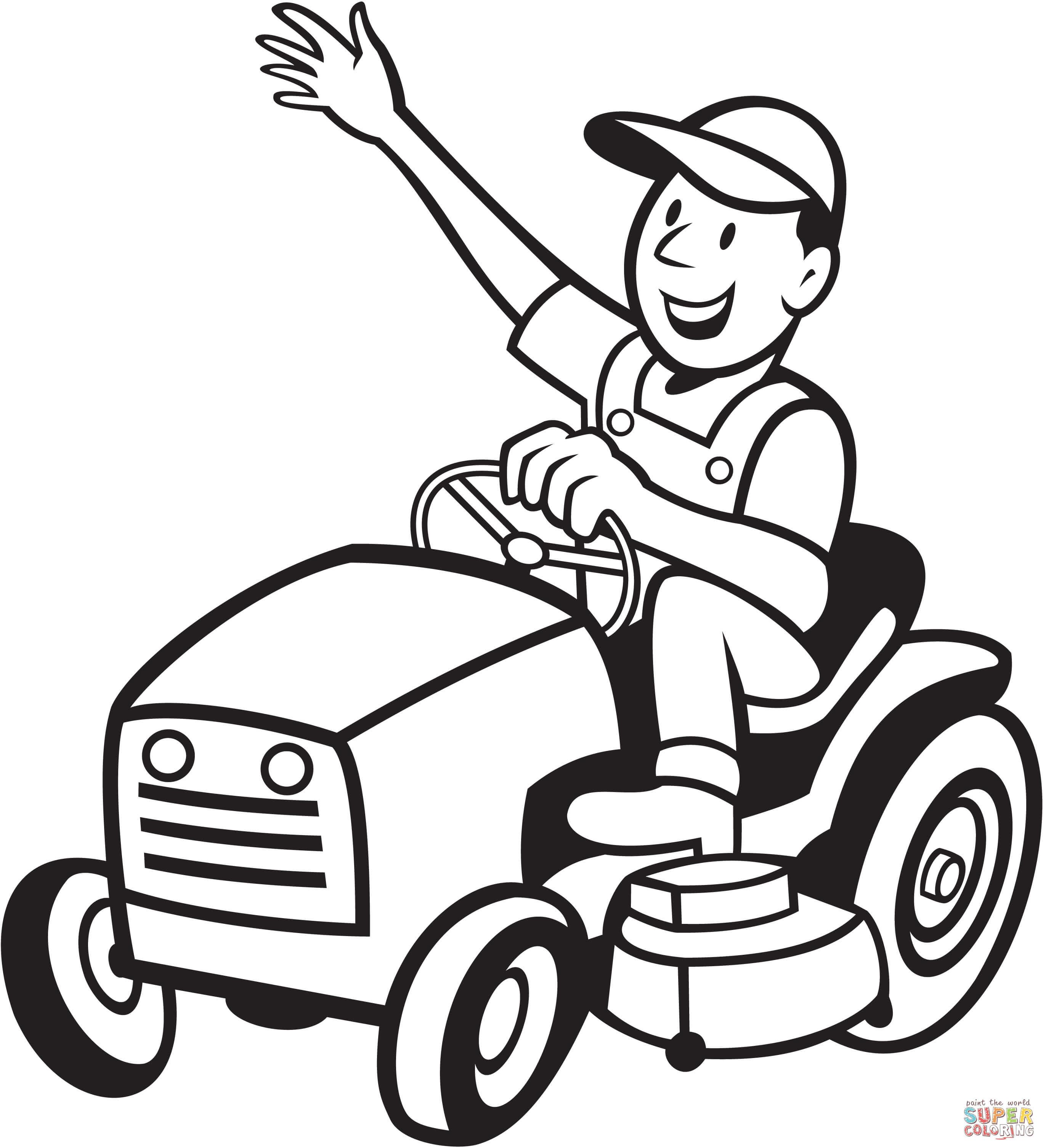 Klick das Bild Bauer fährt einen Traktor Mäher
