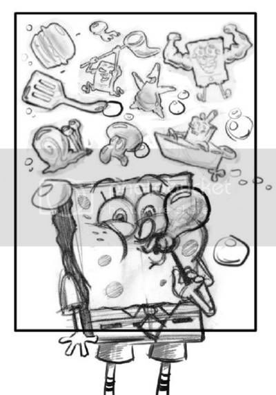 SpongeBob blows some more bubbles that look like a spatula flipping a Krabby Patty, a boat, and his friends Patrick and Squidward Tentacles. Pencil rough for SpongeBob SquarePants Nick magazine
