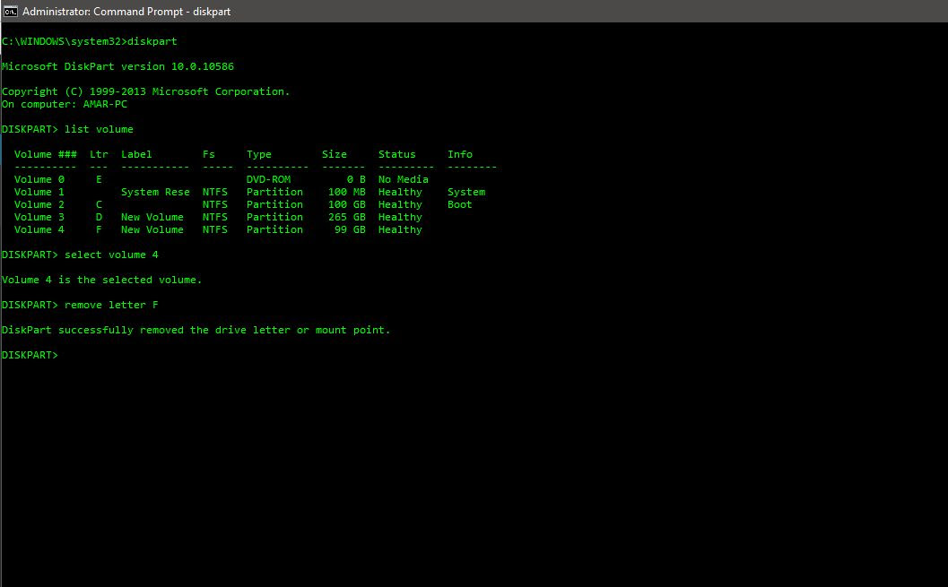 Hide a drive in command prompt