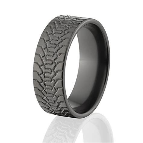 Black Zirconium Tire Ring Wedding Band Mud Tread Rings USA