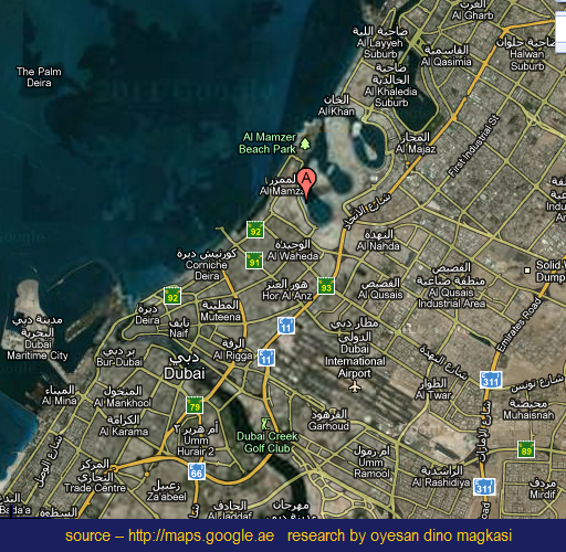 Detail Al Mamzar Beach Park Dubai Location Map for Travelers,Location Map of Al Mamzar Beach Park Dubai,Al-Mamzar Park in Dubai United Arab Emirates,Al Mamzar Beach Park Dubai Accommodation Hotels Map