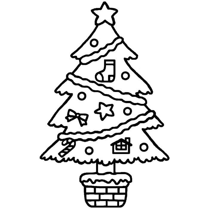 シンプルツリー白黒ツリー1クリスマスのイラスト素材 クリスマスの