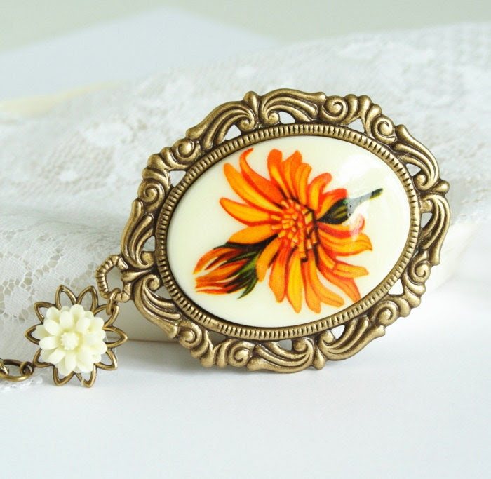 Cameo Necklace With Large Orange Daisies Set in Brass Frame