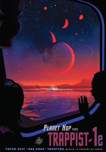 A futuristic travel poster depicting a trip on the surface of TRAPPIST-1e...with the six other worlds of the TRAPPIST-1 star system visible in the sky.
