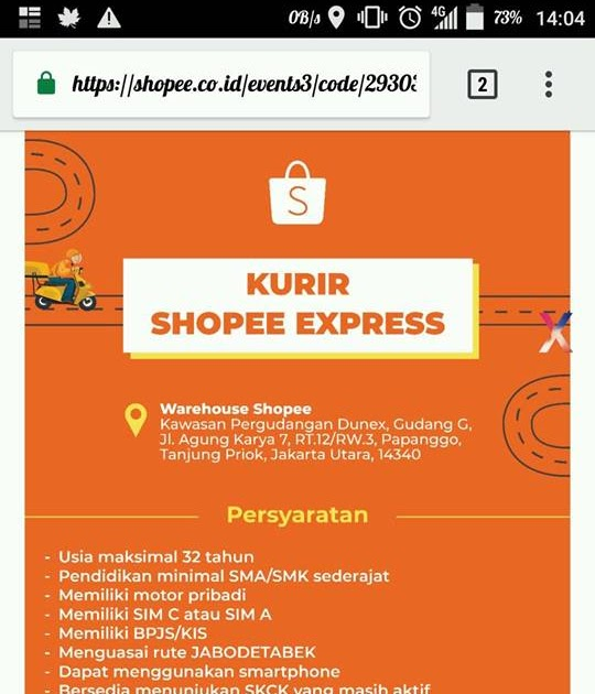 Lowongan Kerja Kurir Shopee Bandung Lokercumacuma