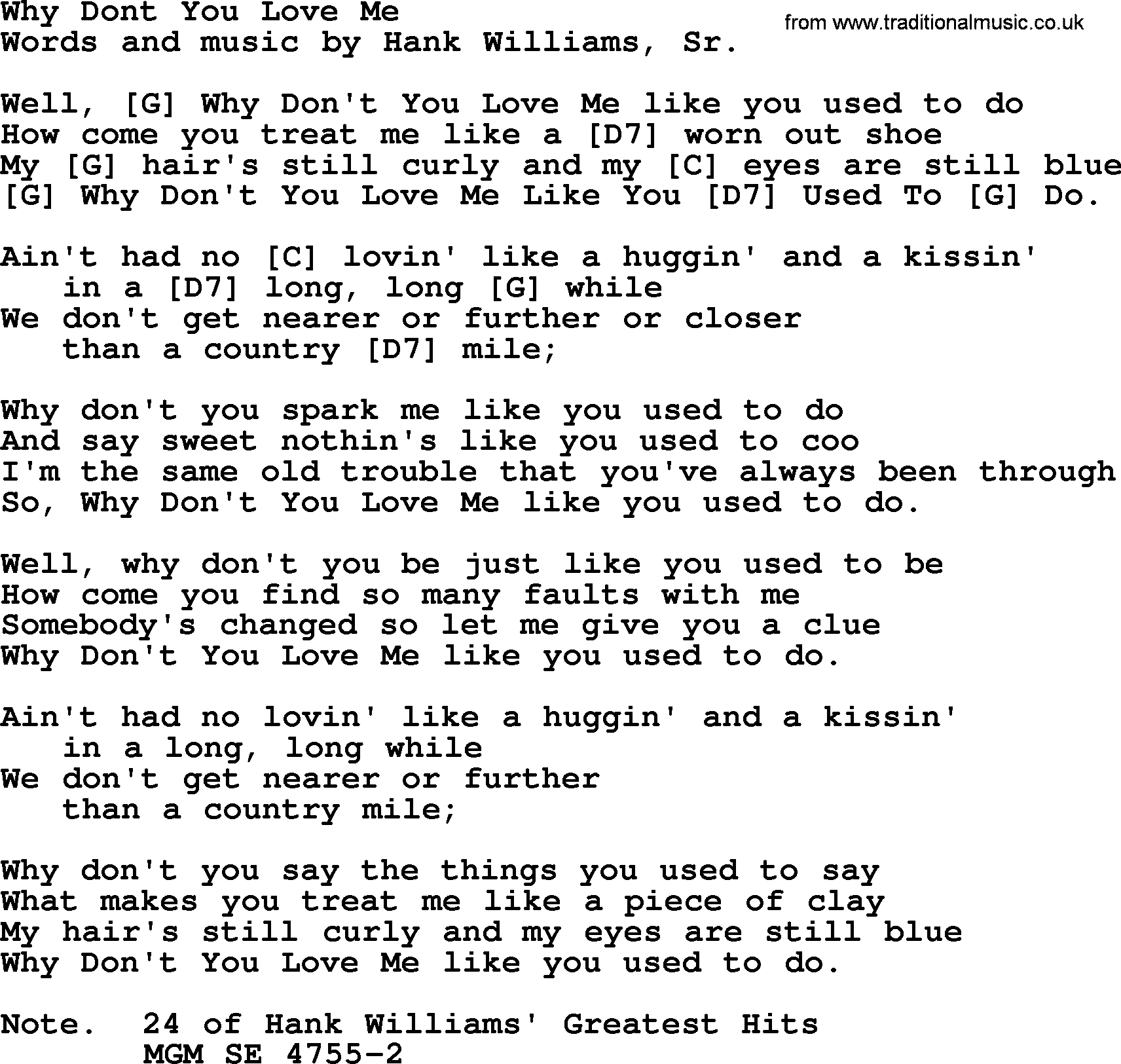 Hank Williams Song Why Dont You Love Me Lyrics And Chords