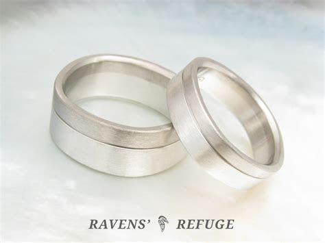 matching platinum and grey gold wedding bands, artisan