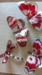Red Butterflies Set of 4,hand painted