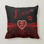 Love Red Leopard Throw Pillow