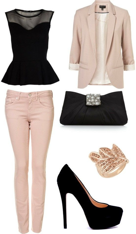 Super cute outfit! Classy for work out going out! Light pink blazer with skinny jeans to match :)