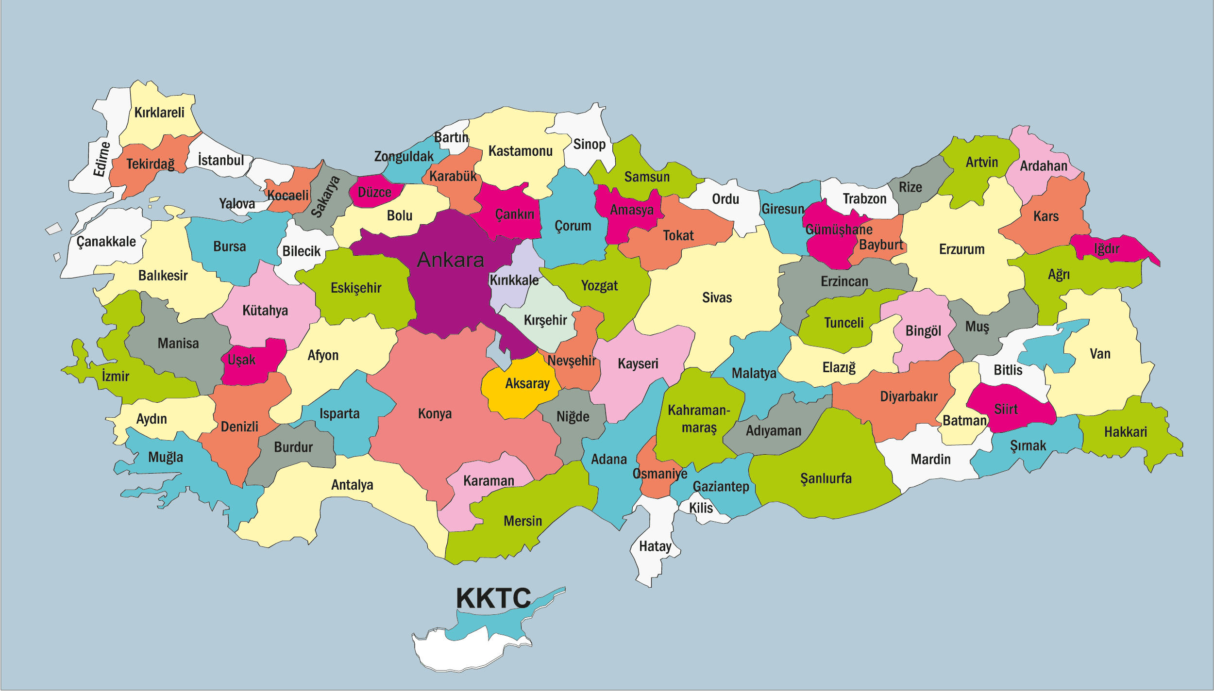 Türkiyenin Illeri Ve Bölgeleri Renkli Harita