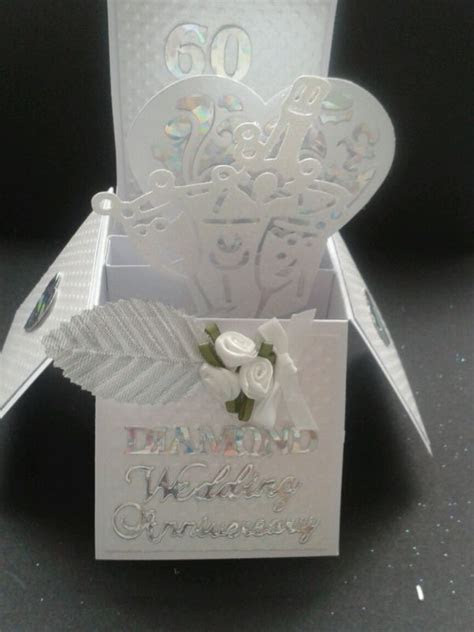 Handmade Diamond wedding anniversary pop up card   Wedding