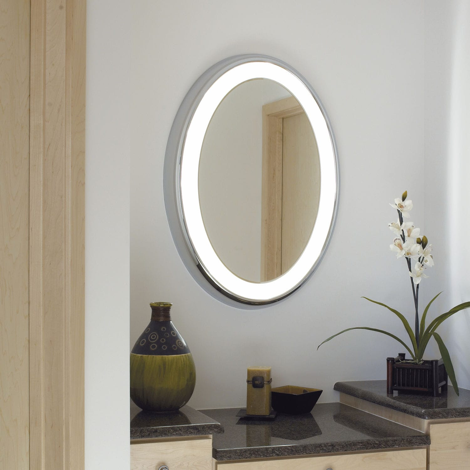 Wall Mounted Bathroom Mirror Led Illuminated Contemporary Oval