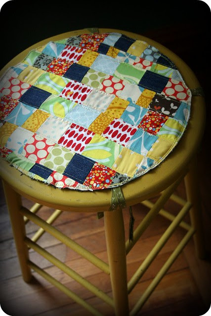 patchwork cushion.thrifted stool