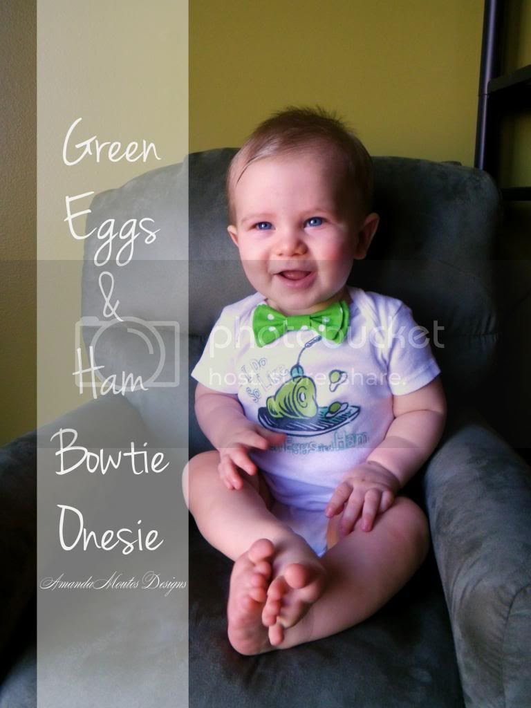 St. Patrick's Day-Green Eggs and Ham Bowtie Onesie Tutorial by Amanda Moutos Designs