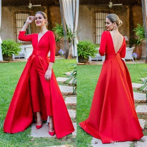 2019 Elegant New Red Jumpsuits Prom Dresses 3/4 Long
