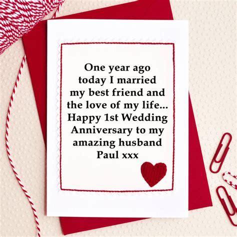 personalised 1st wedding anniversary card by jenny arnott
