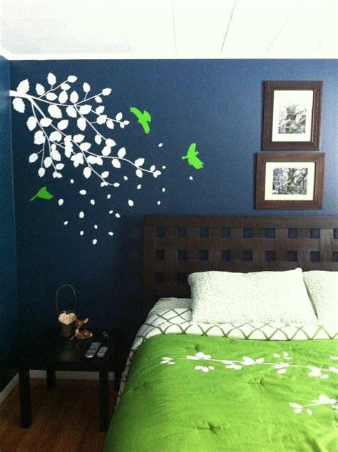 dark blue bedroom  bright green accent wedding ideas