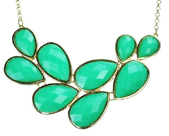 Bubble Necklace, Bib Necklace, Drop Shape Necklace,Statement Necklace, Cluster Necklace (Fn0564-Kelly Green)