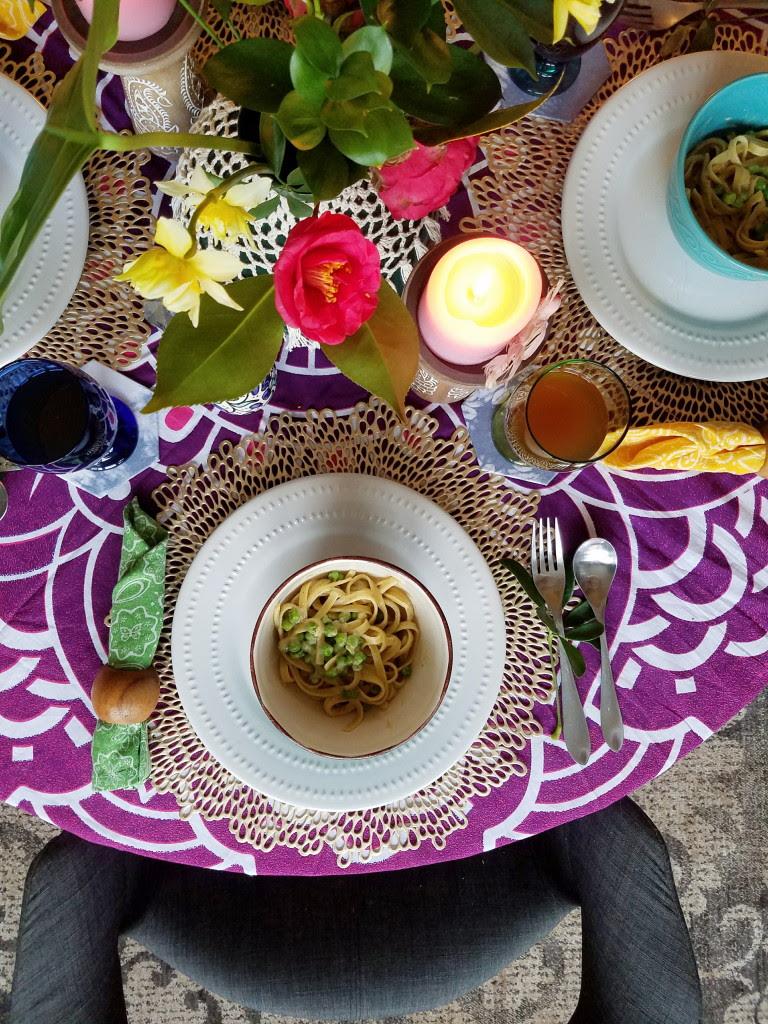 Botanical Bohemian table setting