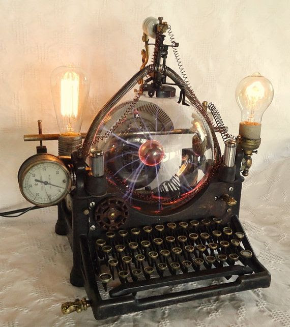 OOAK STEAMPUNK LAMP typewriter machine age by steampunkmountain. A must for any steampunk writer! #Steampunk
