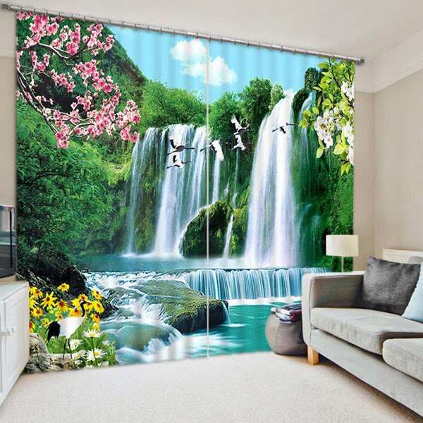The Wonderful Waterfall Print 3D Blackout Curtain