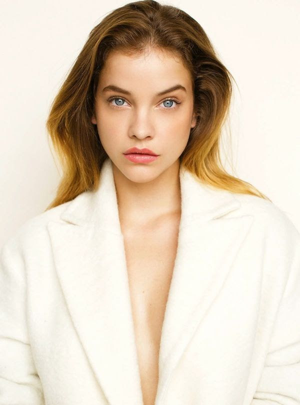 Le Fashion Blog Fall Winter Beauty Style Rosy Lips White Coat Bold Brows Romantic Makeup Barbara Palvin Elle Hungary