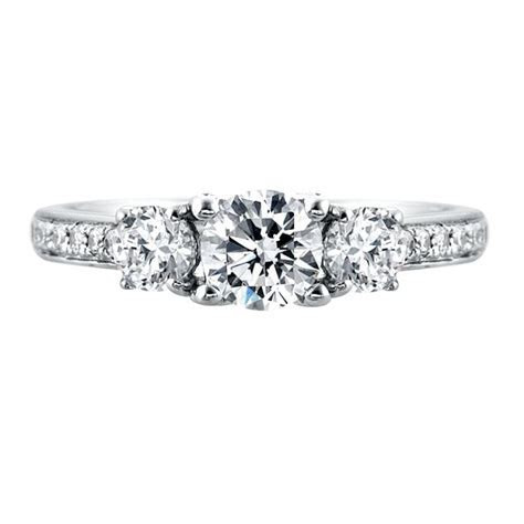 Mazal Diamond : 3 Stone Engagement Ring with Diamond