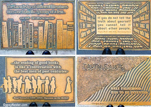 The bronze sidewalk insets along 41st Street that form Library Way. The walk's bronze plaques feature quotes from classic literature and authors, paired with innovative artwork by Gregg LeFevre