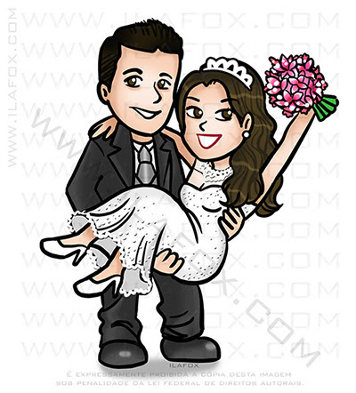 caricatura fofinha, caricatura casal, caricatura divertida, caricatura digital, ila fox