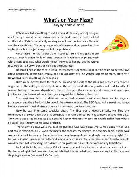 Reading Prehension Worksheet What S On Your Pizza