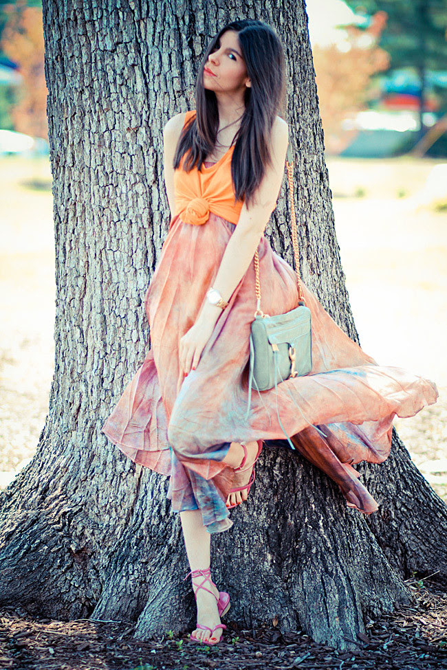 Rebecca Minkoff MAC Clutch bag, vintage watercolor maxi skirt, gold Marc Jacobs Henry watch, Fashion outfit