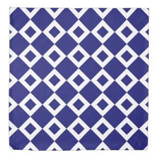 Reversible Deep Blue and White Diamond Patterns Duvet Cover