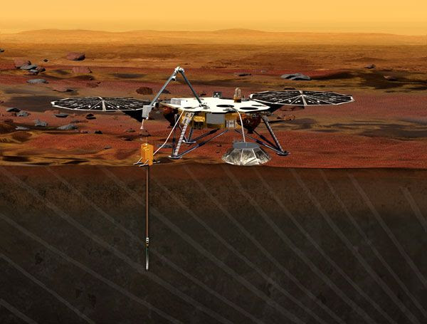 An artist's concept of the InSight lander on the surface of Mars.