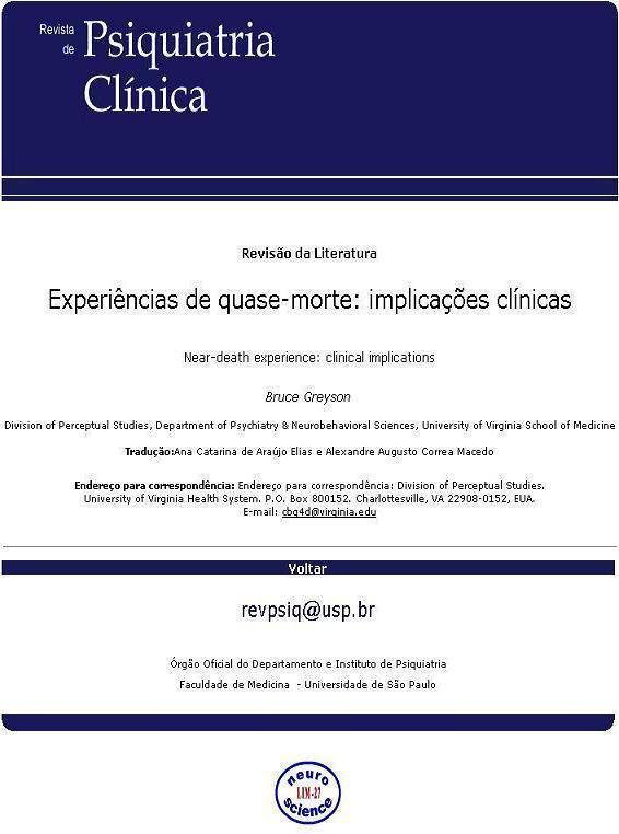 Órgão Oficial do Departamento e Instituto de Psiquiatria Faculdade de Medicina - Universidade de São Paulo
