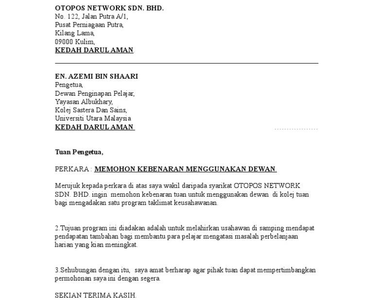Surat Rasmi Permohonan Dewan - WRasmi
