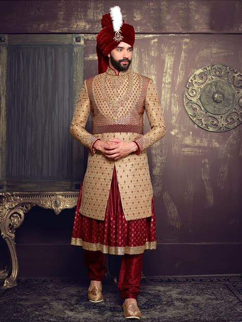 Beige Maroon Silk Layered Anarkali Sherwani   Men's