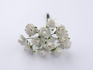 Różyczki mini - białe - 12szt 1,5 cm