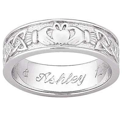 Men's Engraved Claddagh and Celtic Knot Wedding Band in