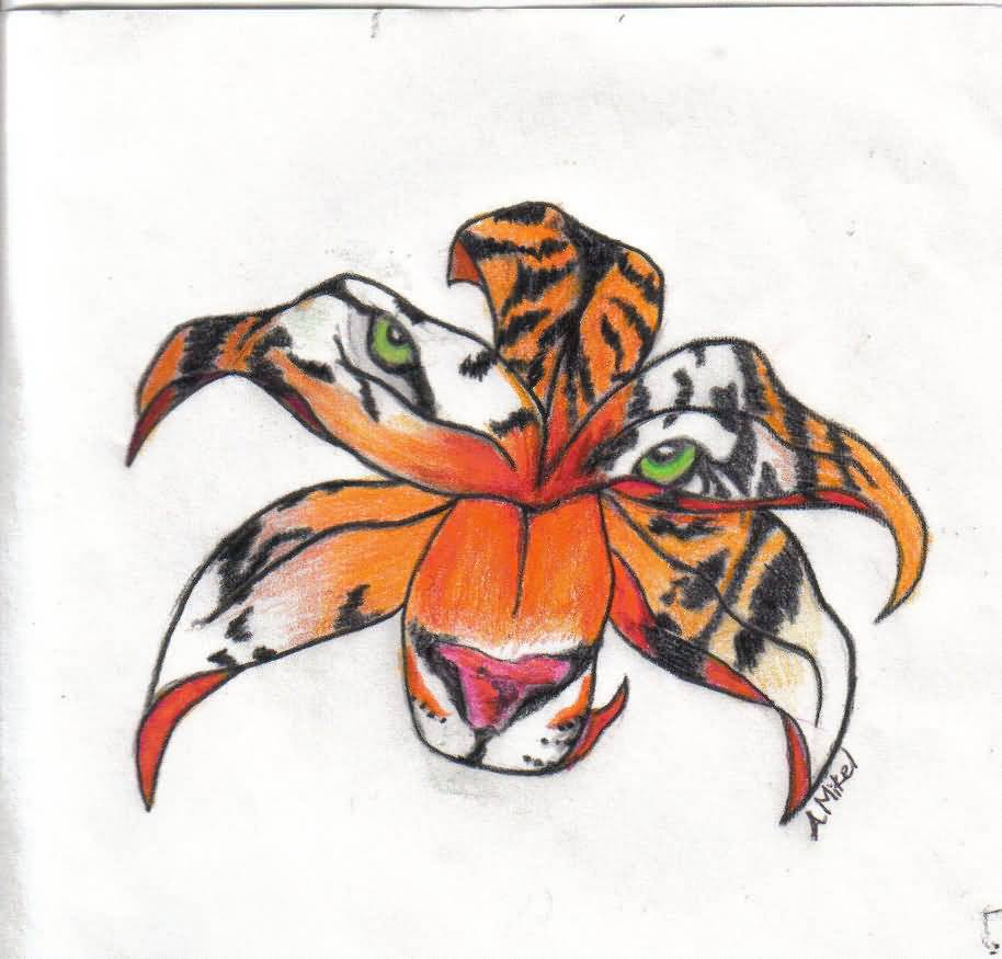 Tiger Face In Lily Flower Tattoo Idea